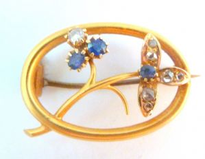 Antique 15ct Gold Sapphire And Diamond Floral Design Brooch.